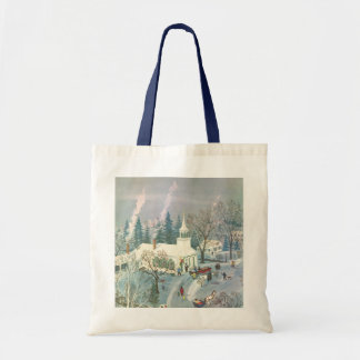 Vintage Christmas, Church Goers in Winter Snow Day Bag