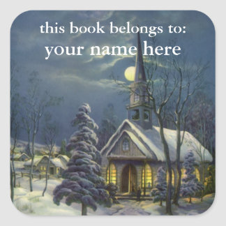 Vintage Christmas, Church in Moonlight Bookplate Square Stickers