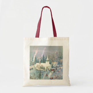 Vintage Christmas Church in Snow with People Budget Tote Bag