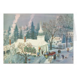 Vintage Christmas Church in Snow with People Greeting Card