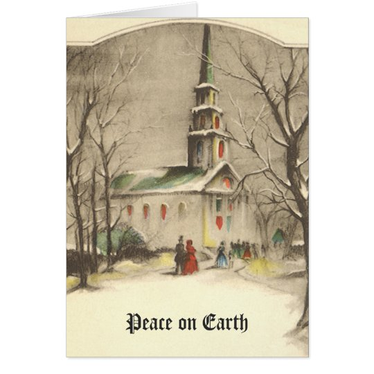 Vintage Christmas, Church in Winter Snowscape Card