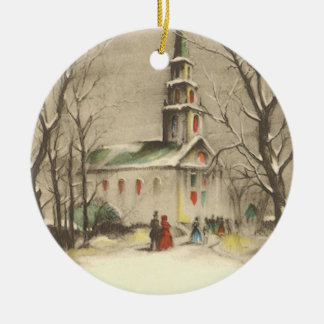 Vintage Christmas, Church in Winter Snowscape Christmas Ornament