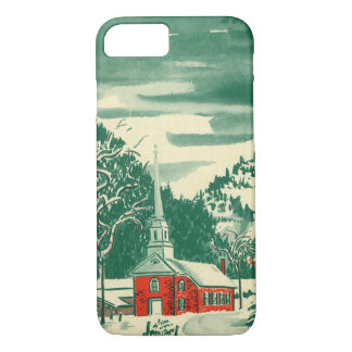 Vintage Christmas Church, Snowscape in Winter iPhone 8/7 Case