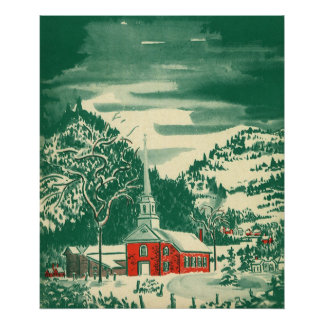 Vintage Christmas Church, Snowscape in Winter Poster