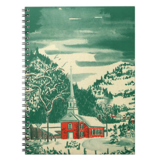 Vintage Christmas Church, Snowscape in Winter Spiral Notebook