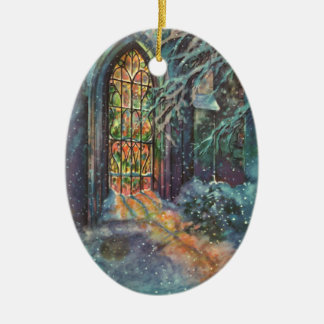 Vintage Christmas Church with Stained Glass Window Christmas Ornament