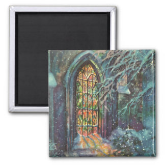 Vintage Christmas Church with Stained Glass Window Magnet