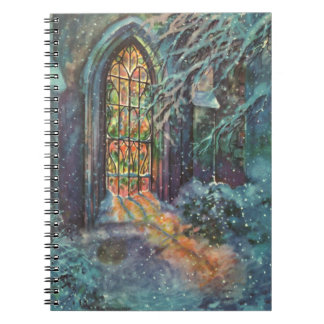 Vintage Christmas Church with Stained Glass Window Notebooks