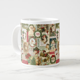 VINTAGE CHRISTMAS COLLAGE GIANT COFFEE MUG