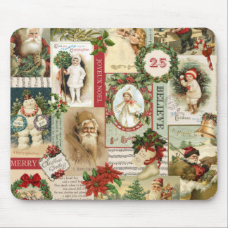 VINTAGE CHRISTMAS COLLAGE MOUSE MAT