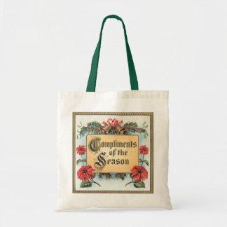 Vintage Christmas, Compliments of the Season Budget Tote Bag