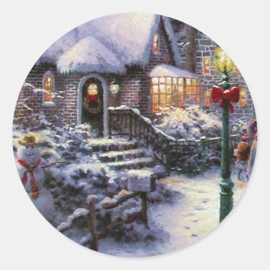 Vintage Christmas Cottage Snow Scene Classic Round Sticker
