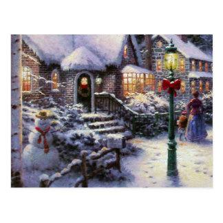 Vintage Christmas Cottage Snow Scene Postcard
