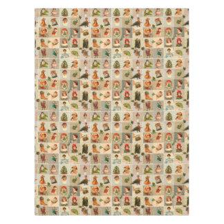 "Vintage Christmas Cotton Tablecloth, 52""x70"" Tablecloth"