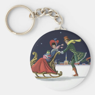 Vintage Christmas, Couple in Love Ice Skating Key Ring