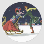 Vintage Christmas, Couple in Love Ice Skating Round Sticker