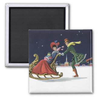 Vintage Christmas, Couple in Love Ice Skating Square Magnet