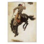 Vintage Christmas, Cowboy on Bucking Bronco Horse Greeting Card