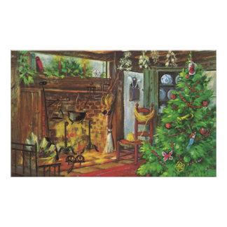 Vintage Christmas, Cozy Fireplace in Living Room Poster