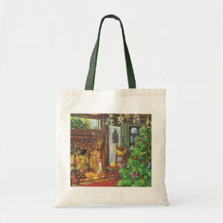 Vintage Christmas, Cozy Log Cabin Fireplace Budget Tote Bag