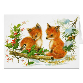 Vintage christmas cute fox cubs blank holiday card
