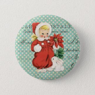 Vintage Christmas Cute Girl Poinsettia Mint Dots 6 Cm Round Badge