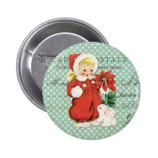 Vintage Christmas Cute Girl Poinsettia Mint Dots 6 Cm Round Badge