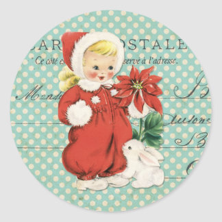 Vintage Christmas Cute Girl Poinsettia Mint Dots Classic Round Sticker
