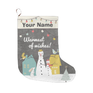 Vintage Christmas Cute Name Monogram Snowman Large Christmas Stocking