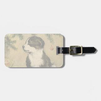 Vintage Christmas, Cute Pet Puppy Dog Luggage Tag
