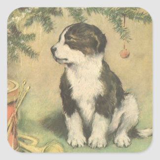 Vintage Christmas Cute Puppy Dog Stickers