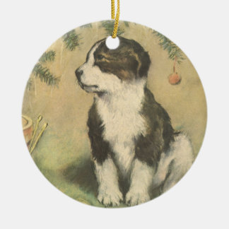 Vintage Christmas, Cute Puppy Under Christmas Tree Christmas Ornament