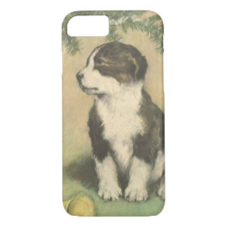 Vintage Christmas, Cute Puppy Under Christmas Tree iPhone 8/7 Case