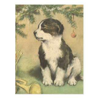 Vintage Christmas, Cute Puppy Under Christmas Tree Postcard