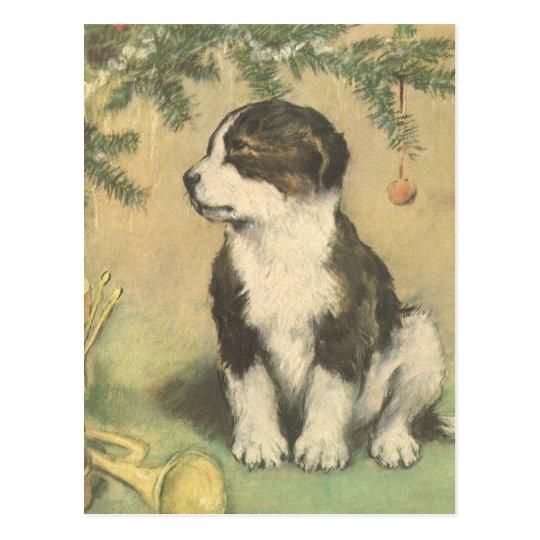 Vintage Christmas, Cute Puppy Under Christmas Tree Postcard