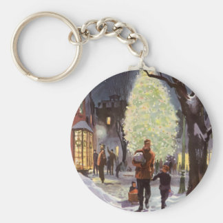Vintage Christmas, Dad Shopping with the Kids Basic Round Button Key Ring