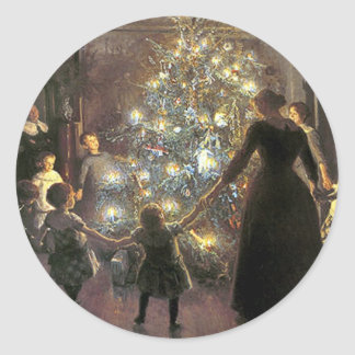 Vintage_Christmas_dance_sticker Classic Round Sticker