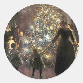 Vintage_Christmas_dance_sticker Round Sticker