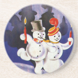 Vintage Christmas Dancing Snowmen with Candles Coaster