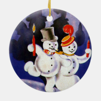 Vintage Christmas Dancing Snowmen with Candles Round Ceramic Decoration