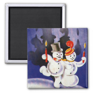 Vintage Christmas Dancing Snowmen with Candles Square Magnet