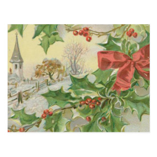 Vintage Christmas Day Snow & Holly Postcard