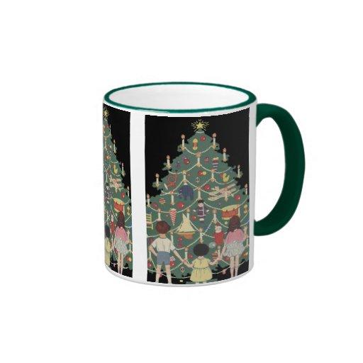 Vintage Christmas, Decorated Tree and Children Coffee Mug