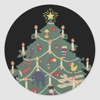 Vintage Christmas, Decorated Tree and Children Classic Round Sticker