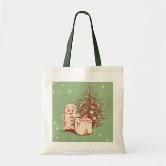Vintage Christmas Decoration on Green Background Budget Tote Bag
