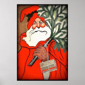 Vintage Christmas Decoration Santa Claus Poster