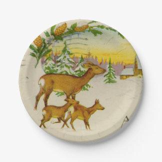 Vintage Christmas Deer 7 Inch Paper Plate