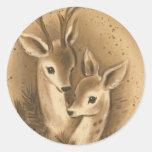 Vintage Christmas Deer Round Sticker