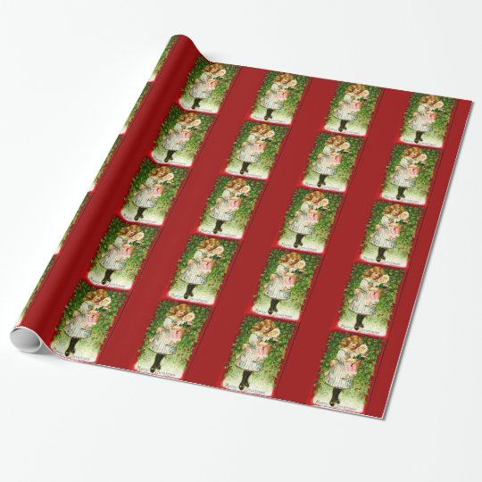 Vintage Christmas Doll Red Stripe Wrapping Paper