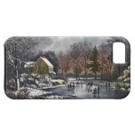 Vintage Christmas, Early Winter, Skaters on Pond Cover For iPhone 5/5S